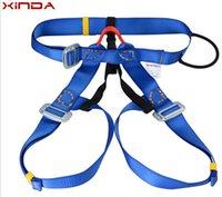 climbing harness - Outdoor climbing safety equipment harness climbing rappelling belt bust safety belt waist use safety belts blue GM1412