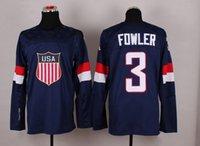 Cheap 2014 Sochi Olympic Team USA Hockey Jersey #3 Cam Fowler Blue Ice Hockey Jerseys
