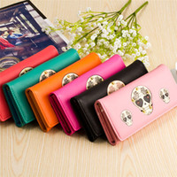 Wholesale Hot Seller Women s Lady s Punk Skull Wallets Long Hasp Clutch Coin Purses Card Holder PU Leather Size CM EG49