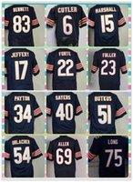 american football houston - New Product Chicago Men s American Football CUTLER MARSHALL JEFFERY BUTKUS FULLER PAYTON ALLEN LONG HOUSTON Blue Elite Jerseys