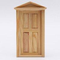 Wholesale Lowest Excellent Workmanship Dollhouse DIY Mini Miniature Panel Wooden Exterior Door Steeple Top Design order lt no tra