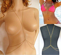Wholesale Ladies Sexy Crossover Gold Body Belly Waist Chain Bikini Beach Harness Necklace Chain Body Necklace for Women N221