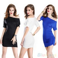 Wholesale Woman Sexy Charming Slim Chic Short Sleeve One Shoulder Clubwear Dress O6K