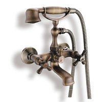 antique brass telephone - PHASAT Brass Finish Telephone Antique Bathtub Faucet with Hand Shower Wall Mounted Two Holder Dual Control