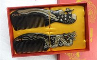 Wholesale Dragon and Phoenix comb natural black buffalo and yak horn comb