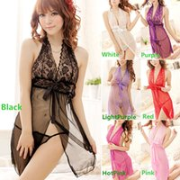 Wholesale Hot Sales Lace Sheer Sexy Lingerie Halter Neck Dress BabyDoll Nightgown Nightwear G String NX90