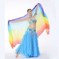 arrival sari - NEW Arrival Deluxe Sari Dancing Girls Rainbow Silk Veil W94 x H43 Belly Dance Stage Performing Scarf Shawl