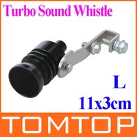 Wholesale Universal Turbo Sound Whistle Exhaust Pipe Tailpipe Fake BOV Blow off Valve Simulator Aluminum Size L x3cm Black