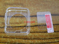 Wholesale Clear Transparent Soft TPU Case Cover tempered glass Screen protector For Apple Watch mm Or mm