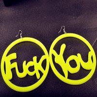 big round earrings - European Club Jewelry Personality Big Fluorescent Fuck You Letter Acrylic Earrings Round Dangle Earrings Female Hot