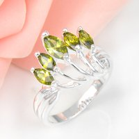 fashion jewelry usa - 2015 Top Fashion Real Wedding Rings Holiday Jewelry Gift Party Peridot Gemstone Sterling Silver Ring Usa Size