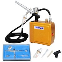 air compressors direct - 2014 Direct Selling Henna Tattoo Airbrush Paint New Airbrush Dual Action Air Brush Compressor Kit Make Up Cake Decorating Gold