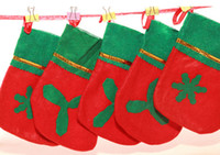 applique christmas stockings - MOQ Christmas socks Non woven Christmas stockings Green mouth applique stocking red and green Gifts socks