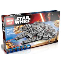 Wholesale 1381pcs LEPIN Star Wars The Force Awakens Millennium Falcon Model Building Kits Rey BB Minifigure Blocks Bricks Compatible Toy Gift