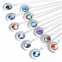 angels universe - 1pcs new fashion Rare Fashion Vintage Silver Glasses Starry sky Moon Pendant Necklace Outer space Universe Long Necklaces
