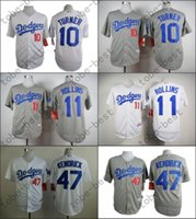 angeles dodgers logo - 2015 Los Angeles Dodgers Justin Turner Jimmy Rollins Howie Kendrick White Grey Stitched Baseball Jersey Embroidery Logo