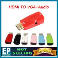 Wholesale 1080P PC to TV converter HDMI to VGA Converter Female Adapter Video with Audio Output Drop For Computer DVD With retail packaging