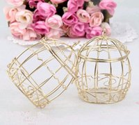 baby bird shower - 30 mini metal gold vintage retro bird cage candy boxes baby shower favor gift for guests party birthday Souvenir