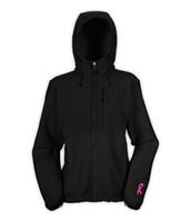 Wholesale women s winter fleece hooded jackets outdoor fashion zipper pink ribbon windpoof sport outwear