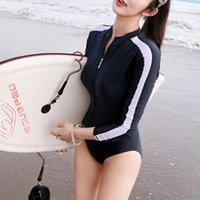 Wholesale 2016 New style women long sleeve swimwear Push Up High Neck Bikini Bathing Suit one piece zipper swimsuit wetsuit surfing wear beachwear