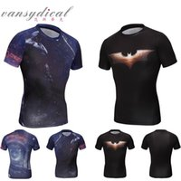 shit - Men batman compression tight shits running cycling workout gear bodybuilding jerses short sleeves gym clothes