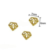 nail art glitter - Gold Diamond Shape Alloy Nail Art Charms Beads Glitters DIY Decorations