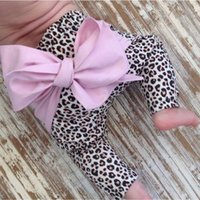 Wholesale Children s Autumn baby boys and girls trousers back bows new pants big PP long pants children love heart leopard printing A7375