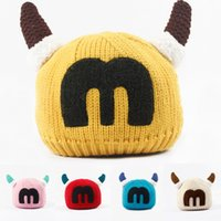 big fluffy hats - New children s hats during the winter hats big m letters plus velvet horn thickening and fluffy line head cap wool hats
