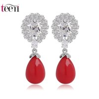 alloy earring suppliers - Teemi Jewelry Supplier Luxury Classic Antique Sea Shell Pearl Drop Earrings AAA Zircon Flower Unfolded A Peacock Tail for Women