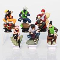 Wholesale Sakura Wholesale - Naruto Figures Uzumaki Naruto Uchiha Sasuke Kakashi Sakura Gaara PVC Figure Toys Dolls 7~10cm Free Shipping