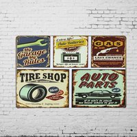 antique auto parts - TIN SIGN quot Auto Parts Tire Shop hrs Gas Oil quot Metal Painting Workshop Wall Decor Garage