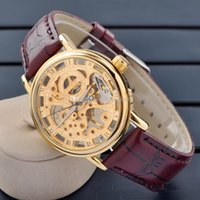 Wholesale In Stock Gold Skeleton Mechanical Watch Hot Sale High end MCE wristwatches Stainless Steel Mens Watch Best Gift DHL
