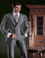 alpaca vest - Grey Formal Suit In Alpaca Mohair Wool With Matching Double breasted Vest Custom Made Groom Tuxedos Groomsman Suit Jacket Pants Vest