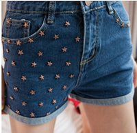 Wholesale New Fashion Stars Rivets Denim Shorts Women Short Jeans Cuffs With Pockets Casual Hot Shorts S M L XL ST