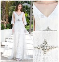 Cheap 2015Sheath Column V-neck Charmeuse And Lace And Stretch Satin Floor-length And Wattean Train Wedding Dresses