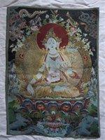 Wholesale 23 quot tibetan Nepal silk embroidered thangka tibet buddha Kwan yin