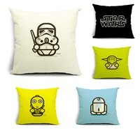 Wholesale 5 styles Star Wars The Force Awakens Designs Star Wars Pillow Covers Cartoon Cushion Covers Linen Pillow Case Christmas gift E341L