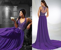 beauty zip - Beauty Formal Evening Dresses Lace Beads Long Prom Gowns A Line V Neck Zip Back Floor Length Chiffon Cheap Plus Size Formal Gowns