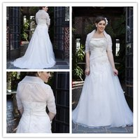 Wholesale Plus Size Wedding Dresses Strapless Long Sleeve With Removeable Jacket Organza Court Train Size Bridal Gown