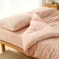 Wholesale Left ear Japanese small fresh garden small floral cotton cotton knit Tianzhu cotton bedding a family of four