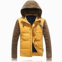 men winter parka - Fall Hot men winter coat Fashion down jacket men Black Khaki yellow Leather Patchwork mens parka Warm Coats