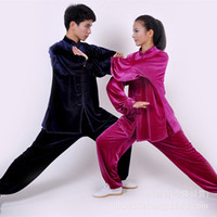 Wholesale warp knitted cashmere is not inverted tai chi clothing warm winter clothing for men and women practicing martial arts