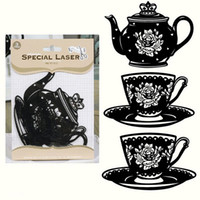 Wholesale 5 packs of black flocked vintage tea pot cup saucer paper laser die cut shapes for paper crafts and scrapbooking pack