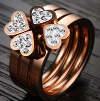 Cluster Rings Asian & East Indian Women's Three-piece combination wedding rings for women 316L stainless steel CZ love heart four leaf clover new fashion classic jewelry