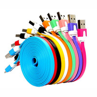Wholesale 50pcs Colorful M Noodle Flat Micro USB Cable Charging Cables Charger Line for Samsung S6 s5 s4 note note android charging cables