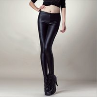 Wholesale Sexy Women S Leather Pants - Wholesale-East Knitting CD22 New 2016 PU Faux Leather Leggings Low waist Women leggings Sexy punk pants For Women Plus Size Drop Shipping