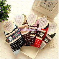 Wholesale Christmas Snowflake Sock Winter Warm Thick Womens Wool Ankle Socks Soft