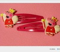 Cheap Baby BB clips girls hairpins Children Hair clips silicone Headwear cute cartoon Peppa pig doll girls hair accessories 100pcs lot free ship