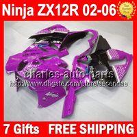 Wholesale 7gifts For KAWASAKI ZX12R NINJA Purple black ZX R Q2315 ZX R ZX R Purple white Fairing