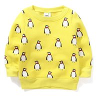 authentic sweaters - Authentic Cartoon Penguin Winter Sweater for Girls and Boys Fleece Lined Warm Winter Clothes Sudaderas Ninos Ropa De Ninas